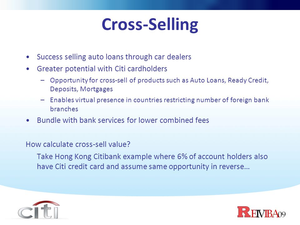 Cross-Selling Success selling auto loans through car dealers