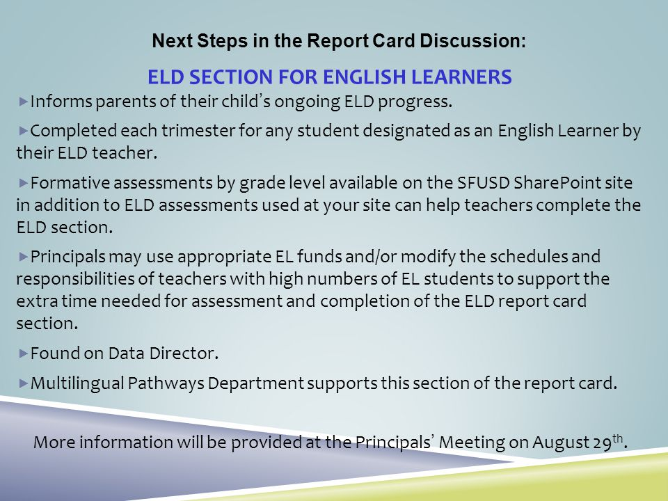 ELD SECTION FOR ENGLISH LEARNERS