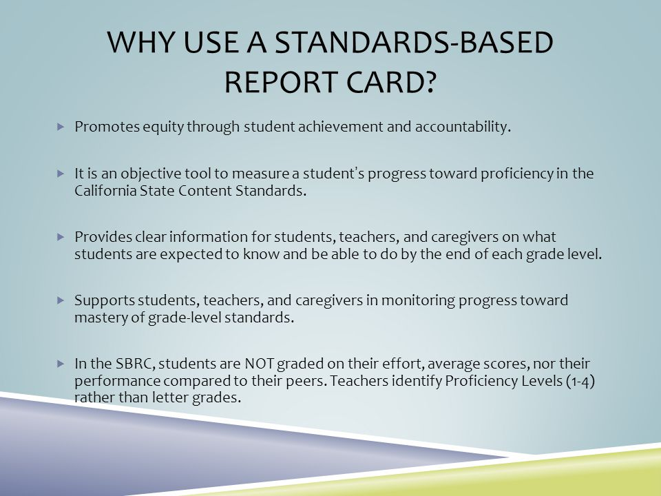 Why Use a Standards-Based Report Card