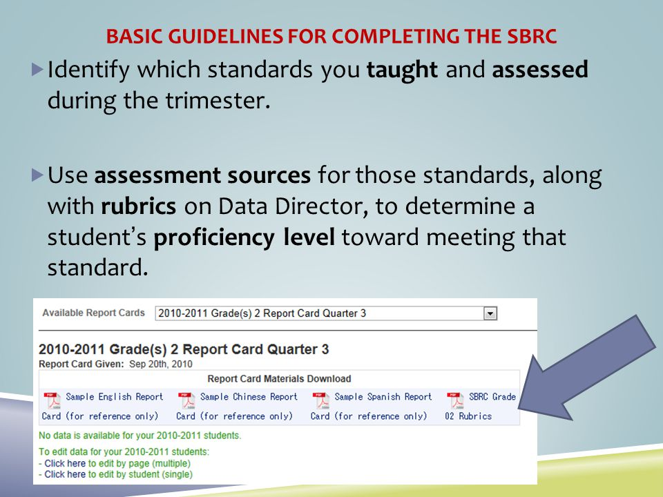 BASIC GUIDELINES FOR COMPLETING THE SBRC