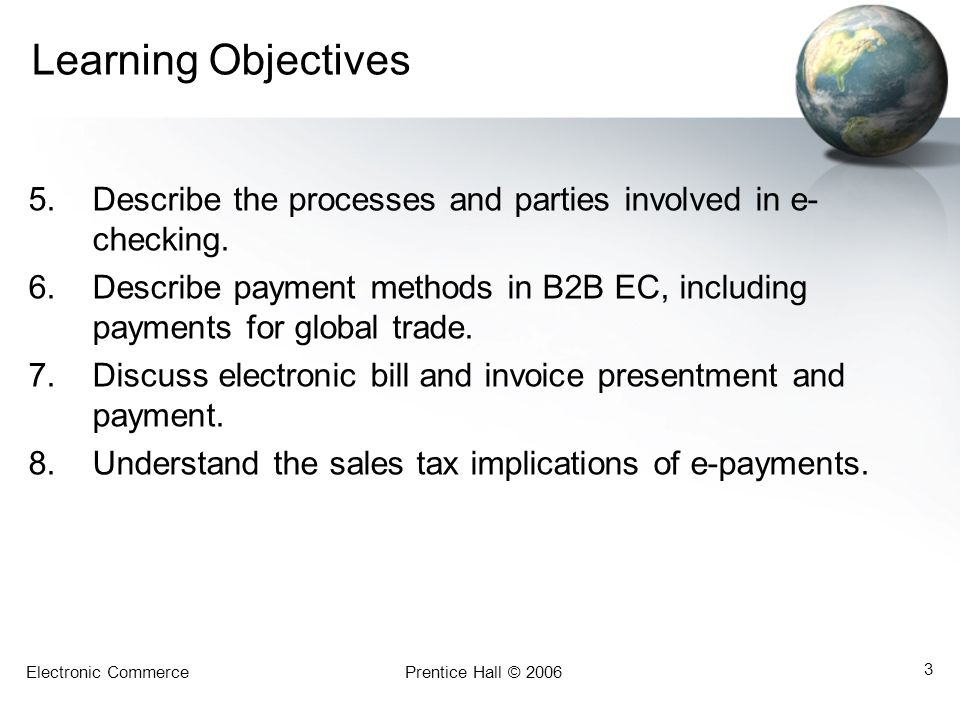 Learning Objectives Describe the processes and parties involved in e-checking.
