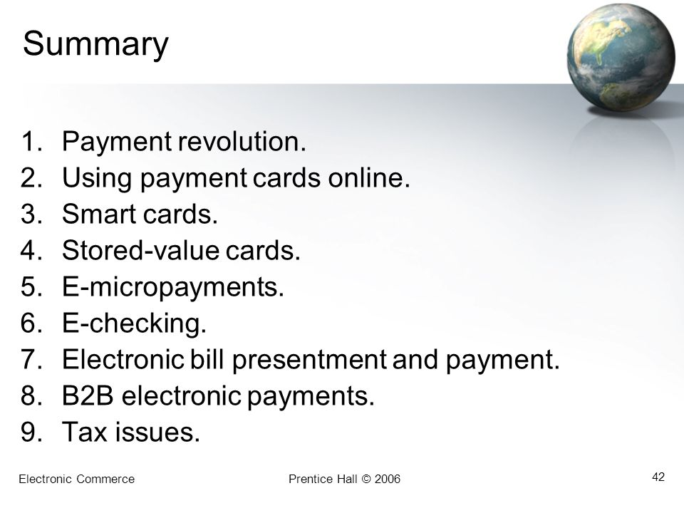 Summary Payment revolution. Using payment cards online. Smart cards.
