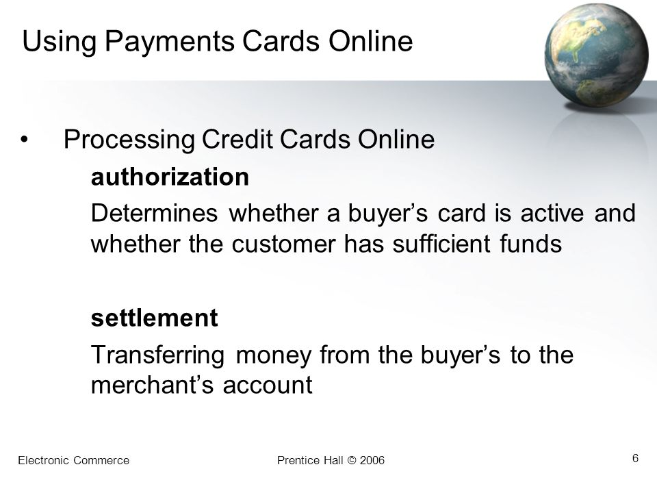 Using Payments Cards Online