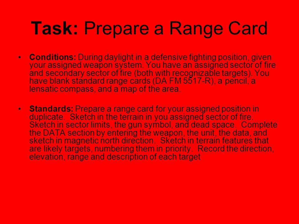 Task: Prepare a Range Card