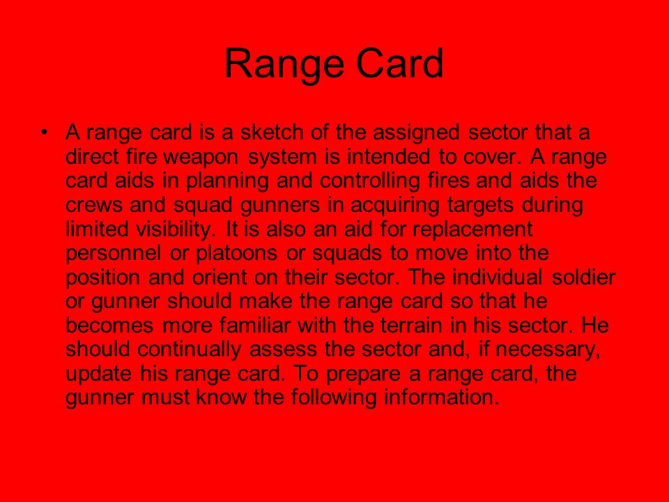 Range Card