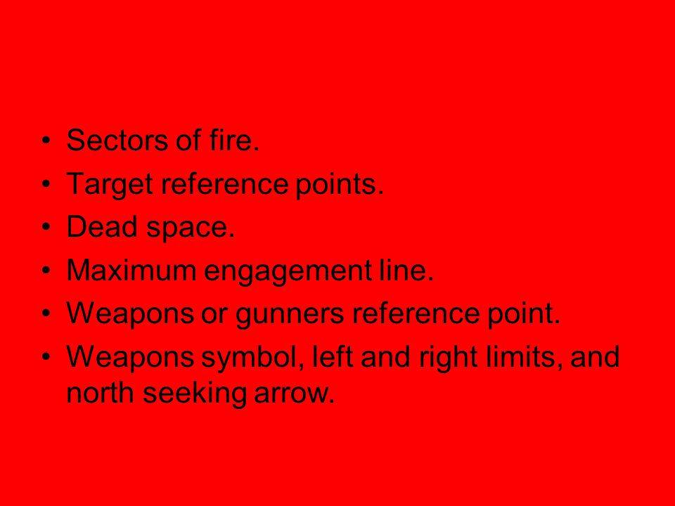 Sectors of fire. Target reference points. Dead space. Maximum engagement line. Weapons or gunners reference point.