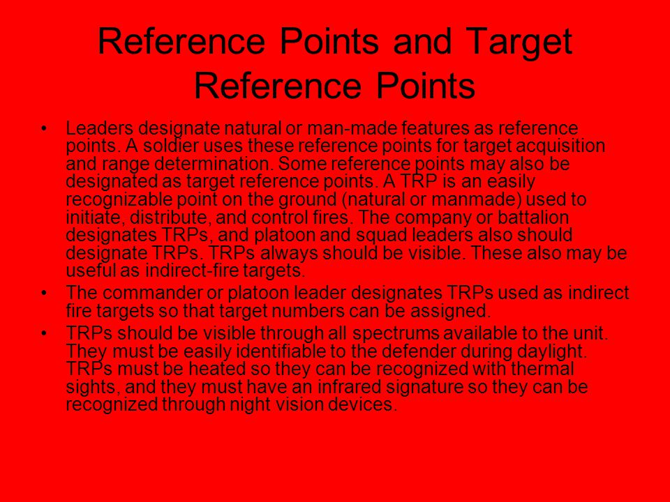 Reference Points and Target Reference Points