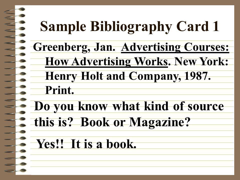 Sample Bibliography Card 1