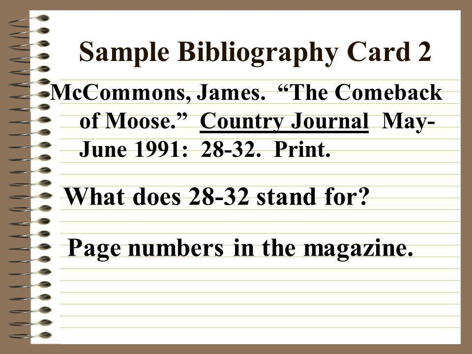 Sample Bibliography Card 2
