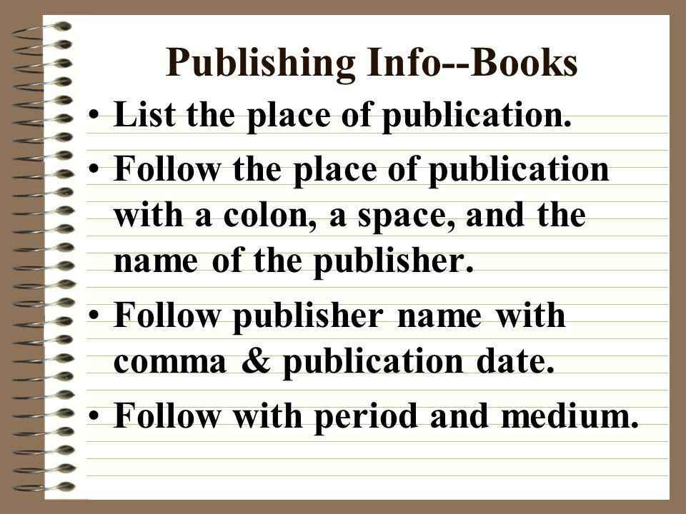 Publishing Info--Books