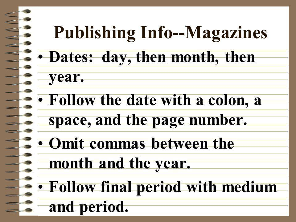 Publishing Info--Magazines