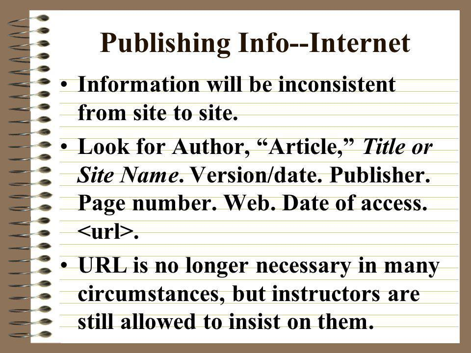 Publishing Info--Internet