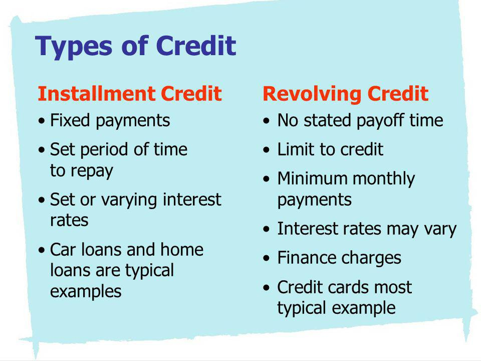 Types of Credit Installment Credit Revolving Credit Fixed payments