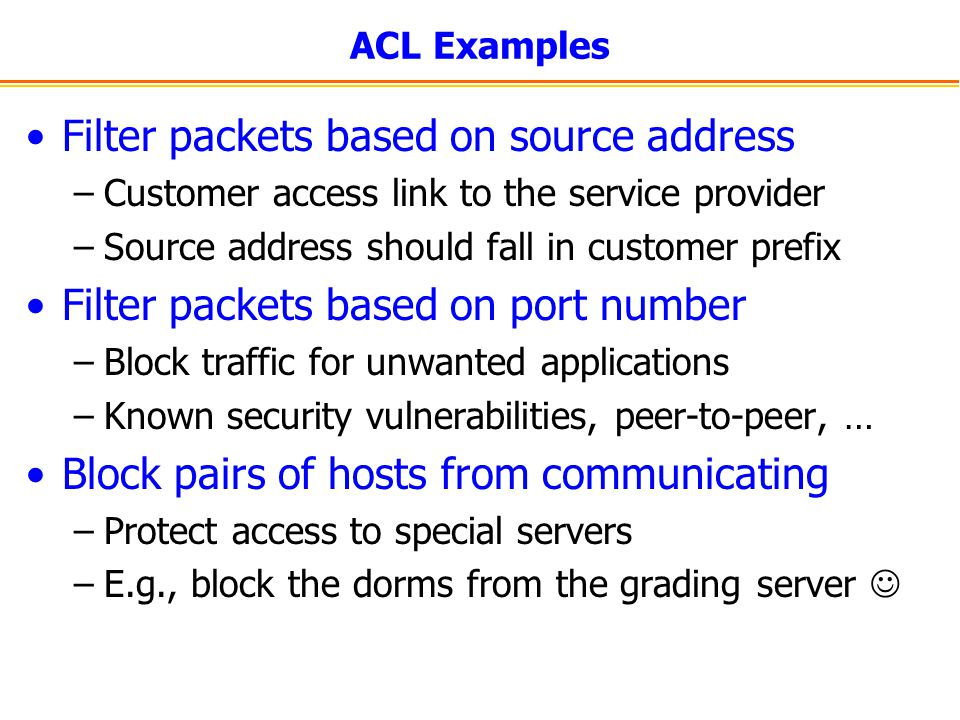 Filter packets based on source address