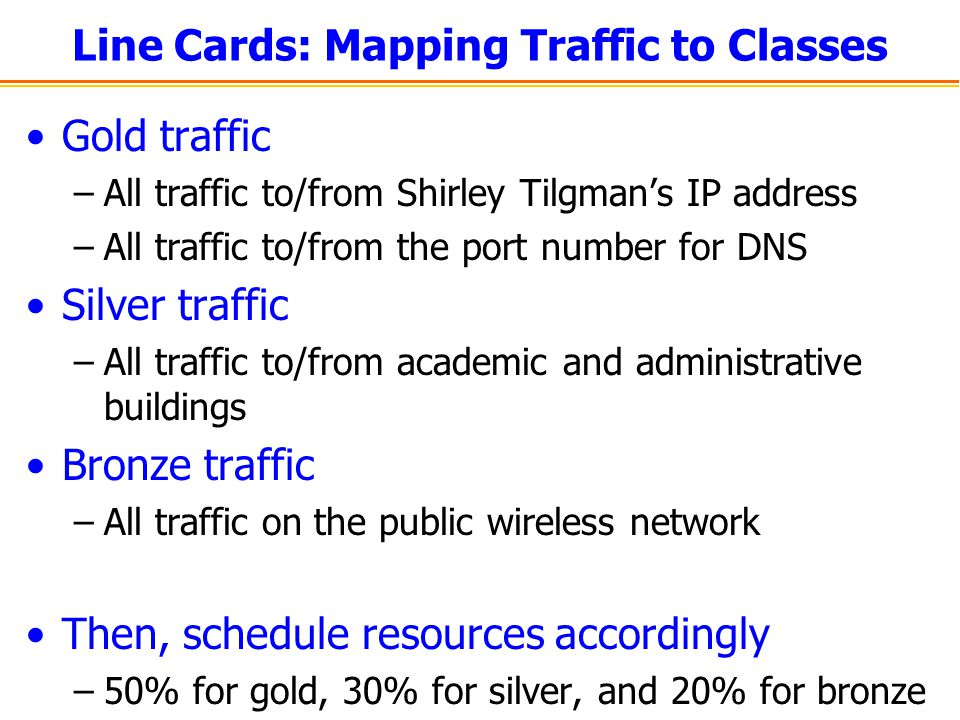 Line Cards: Mapping Traffic to Classes