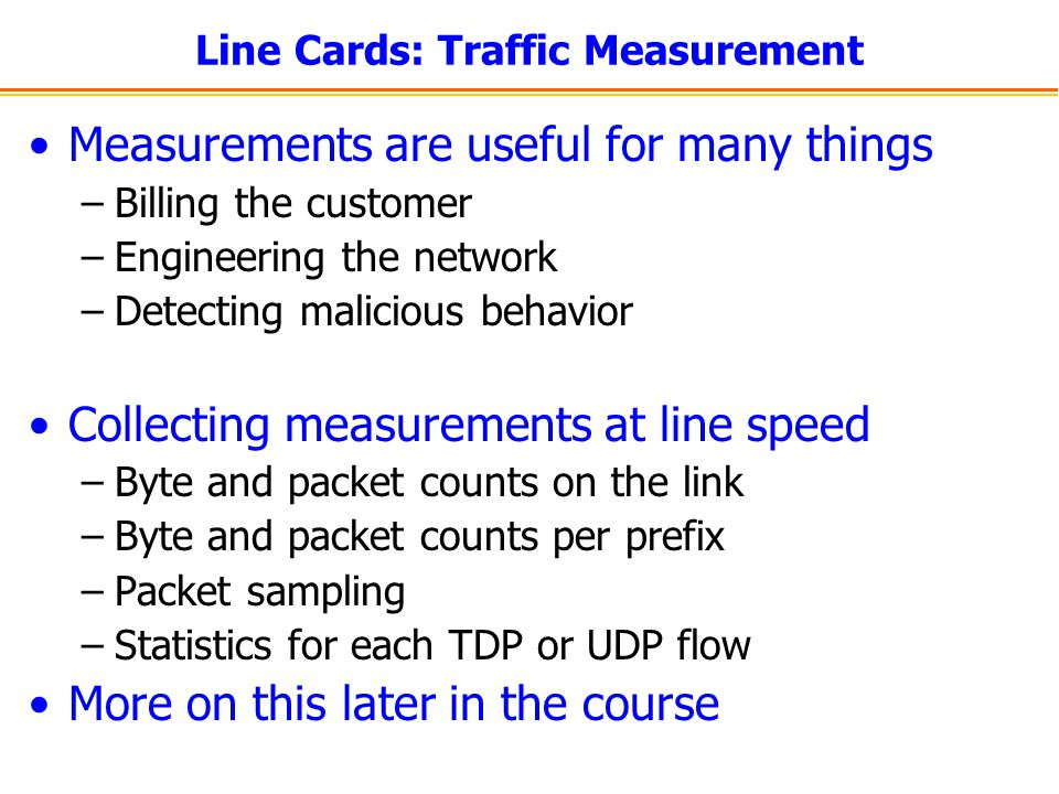 Line Cards: Traffic Measurement