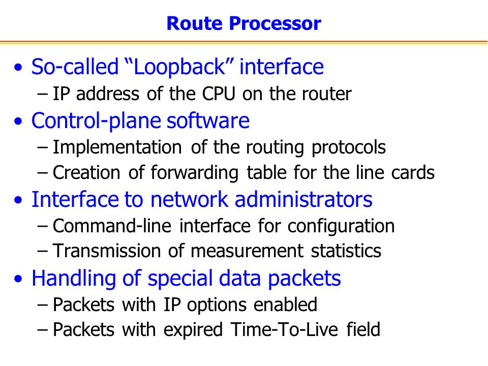 So-called Loopback interface Control-plane software