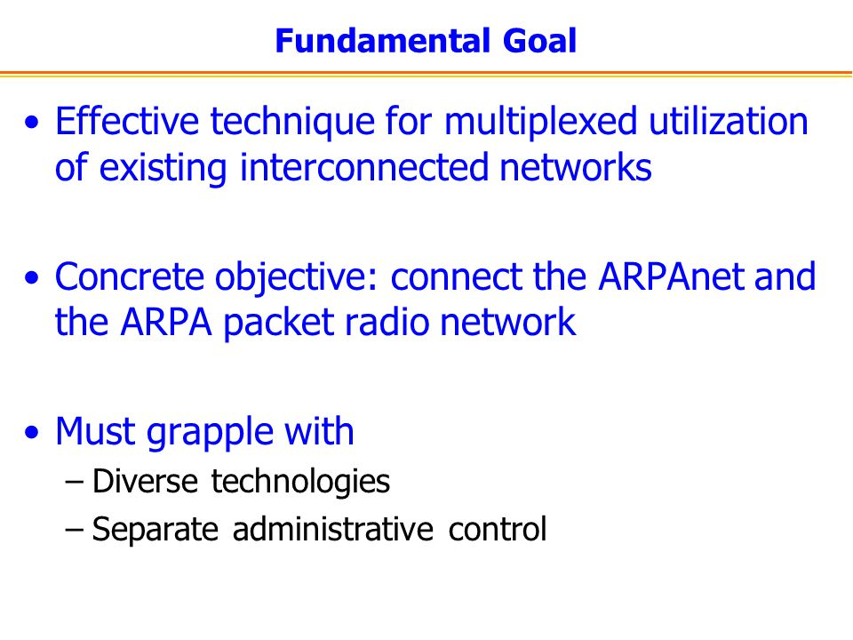 Fundamental Goal Effective technique for multiplexed utilization of existing interconnected networks.