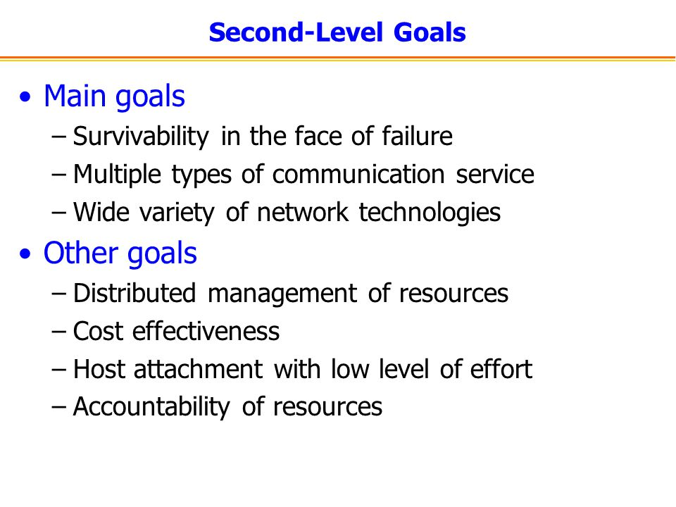 Main goals Other goals Second-Level Goals