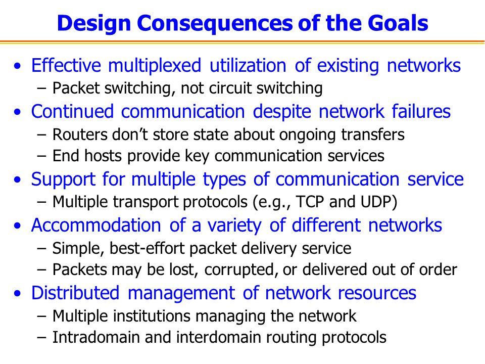 Design Consequences of the Goals