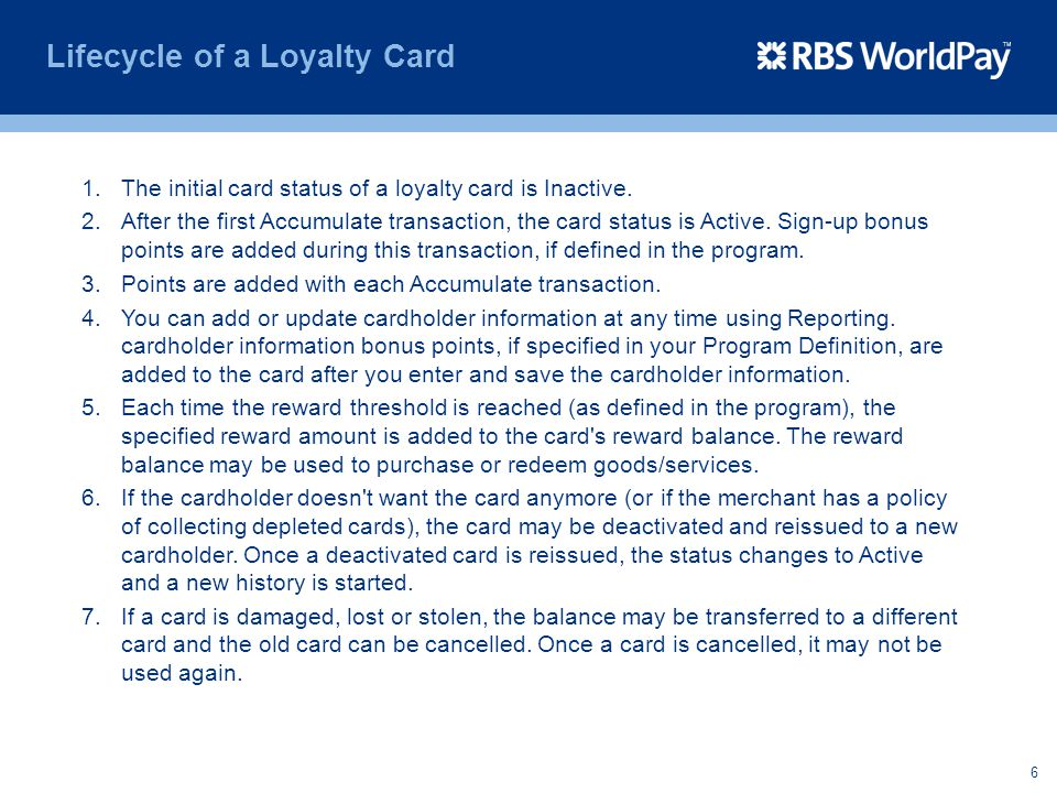 Lifecycle of a Loyalty Card