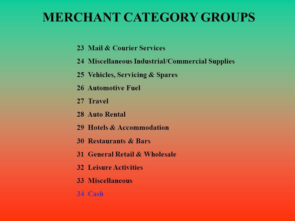 MERCHANT CATEGORY GROUPS