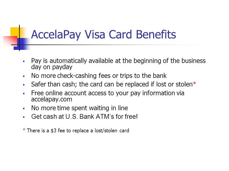 AccelaPay Visa Card Benefits
