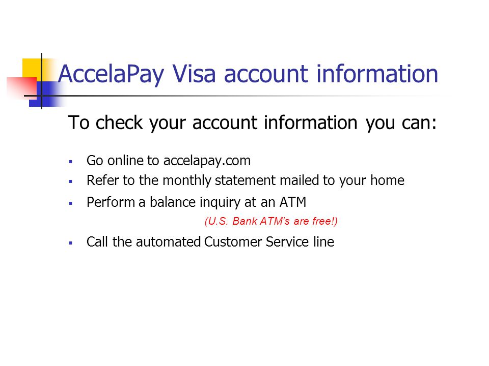 AccelaPay Visa account information