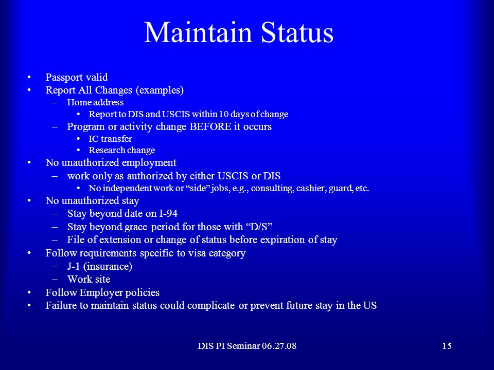 Maintain Status Passport valid Report All Changes (examples)