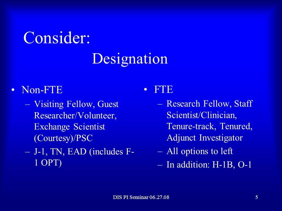 Consider: Designation Non-FTE FTE