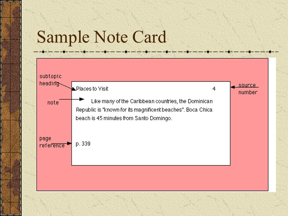 Sample Note Card