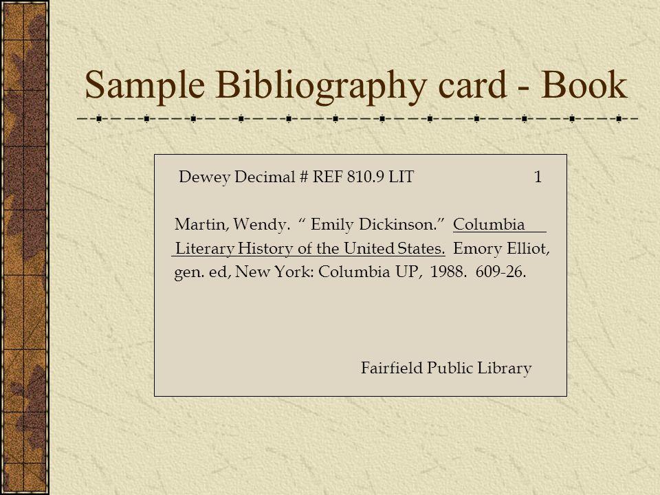 Sample Bibliography card - Book