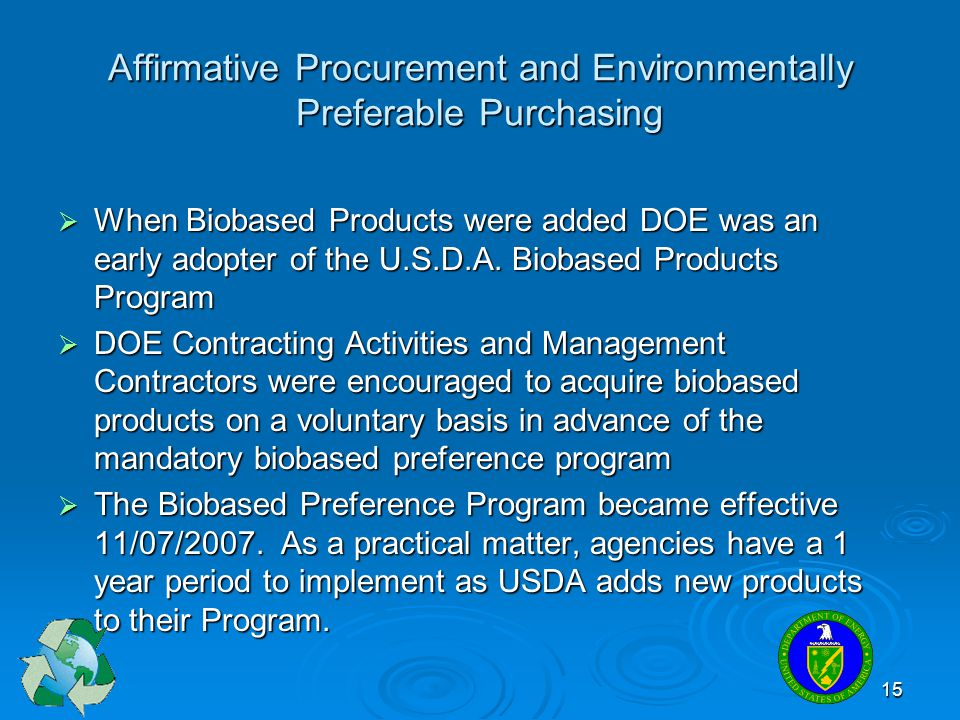 Affirmative Procurement and Environmentally Preferable Purchasing