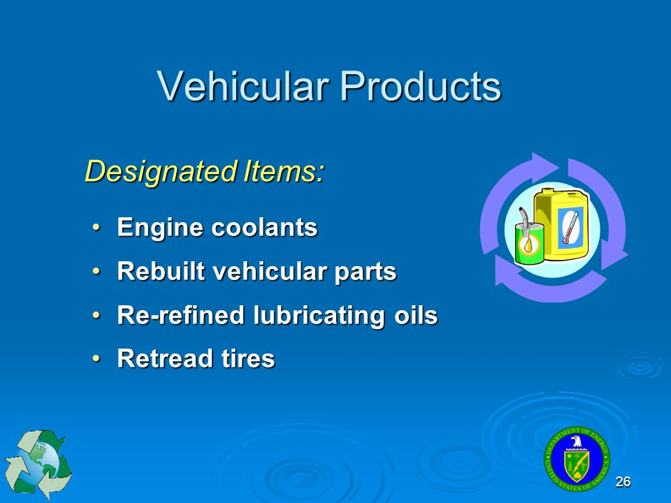 Vehicular Products Designated Items: Engine coolants