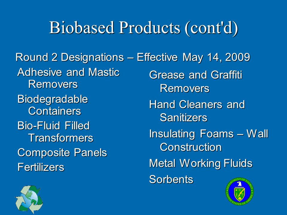 Biobased Products (cont d)