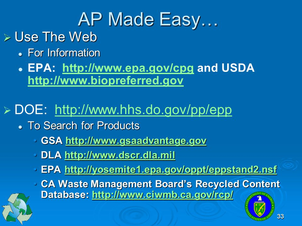 AP Made Easy… Use The Web DOE: http://www.hhs.do.gov/pp/epp