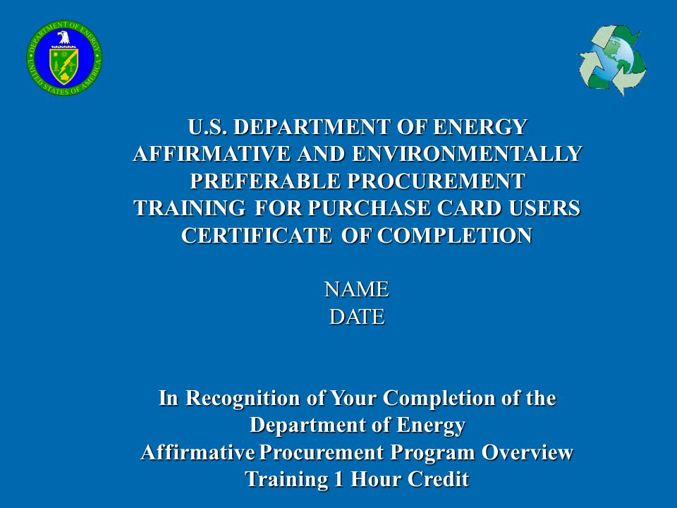 Affirmative Procurement Program Overview Training 1 Hour Credit