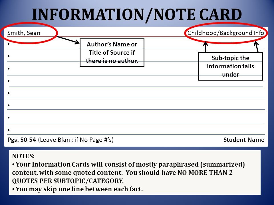 INFORMATION/NOTE CARD