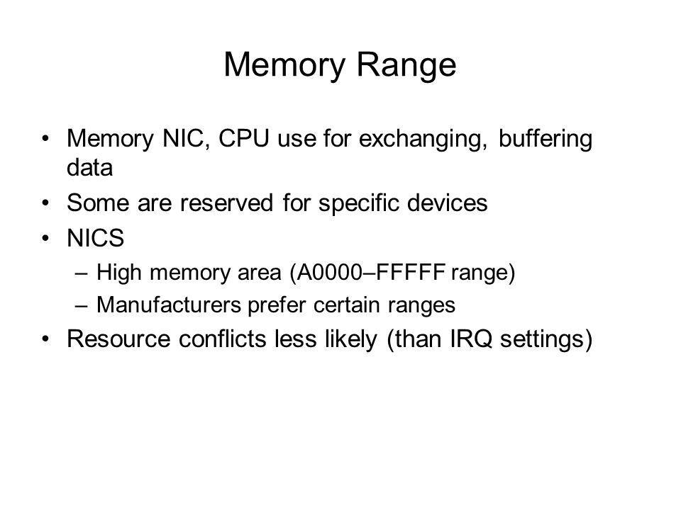 Memory Range Memory NIC, CPU use for exchanging, buffering data