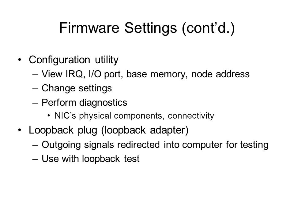 Firmware Settings (cont'd.)
