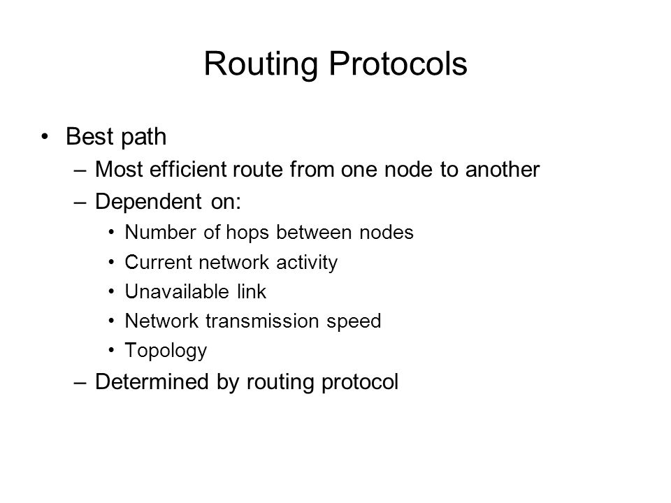 Routing Protocols Best path