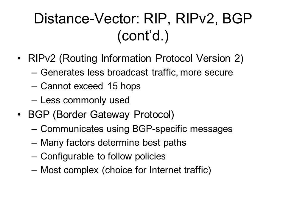 Distance-Vector: RIP, RIPv2, BGP (cont'd.)
