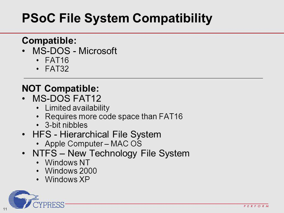PSoC File System Compatibility