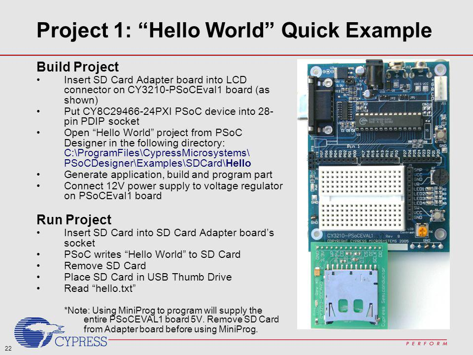Project 1: Hello World Quick Example