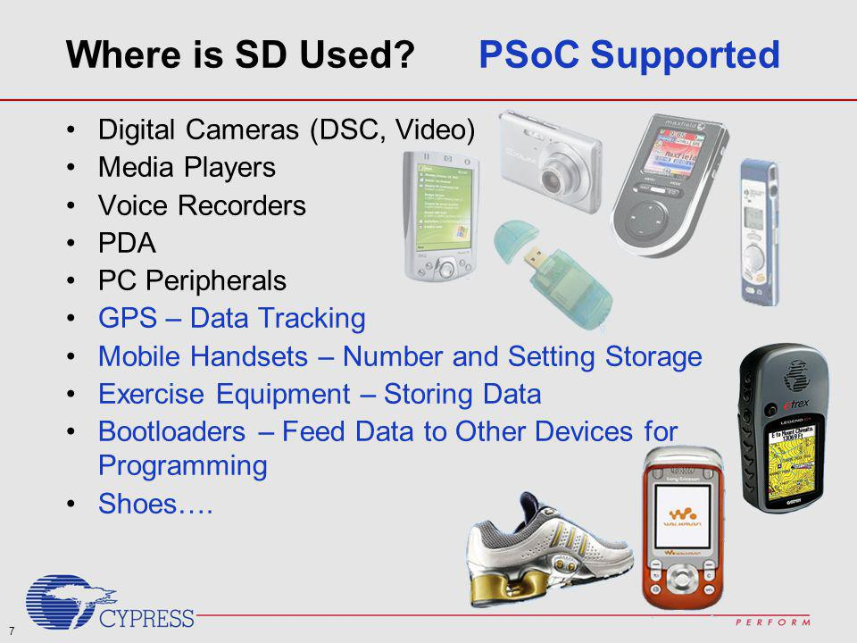 Where is SD Used PSoC Supported