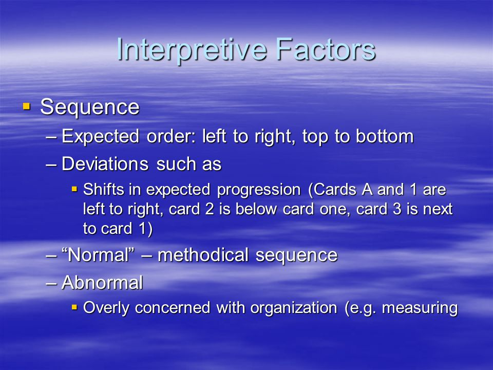 Interpretive Factors Sequence