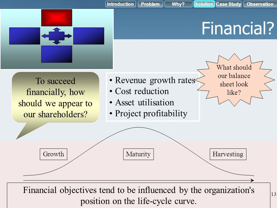 Financial What should our balance sheet look like To succeed financially, how should we appear to our shareholders