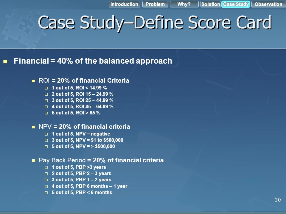 Case Study–Define Score Card