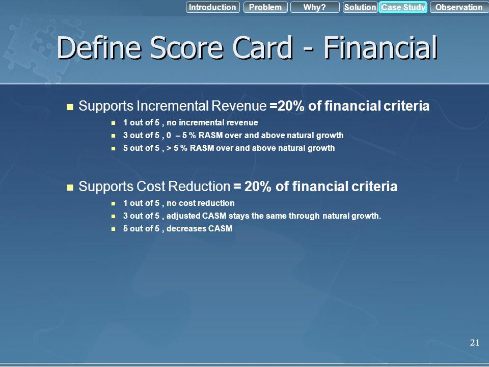 Define Score Card - Financial