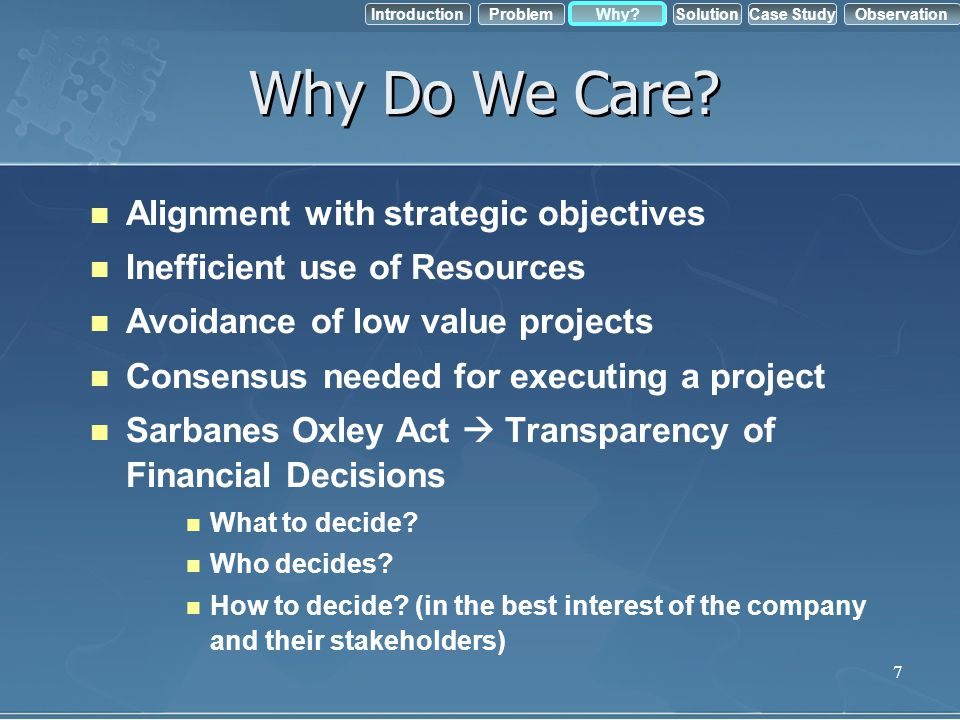 Why Do We Care Alignment with strategic objectives